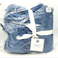 Pottery Barn Teen Dorm Bohemian Fringe Throw Blanket Navy Blue #86 New