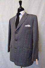 Men's Bespoke Grey Striped Vintage Suit 44R W36 L28 CC6384