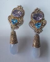Beautiful Designer Sajen Sterling Silver 925 Opalite, Amethyst & Topaz Earrings