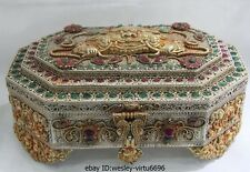 Nepal Copper Silver Gild inlay Ruby beryl Gem Garuda Bird God Jewelry box casket
