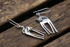 Sterling Silver Cat Earrings, Silver Dangle Earrings, Cat Earrings, UK Handmade