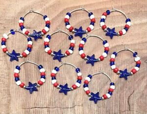 Lot of 10 RED WHITE & BLUE Beaded Wine Charms / Drink Markers w/ Blue Stars USA