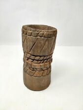 Antique Wooden Candle Holder Hand Carved Tribal Mortar Vase Collectible