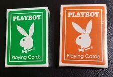 Vintage Playboy Playing Cards Green & Orange Deck US Playing Card Co Rare
