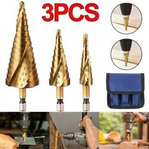 3Pcs Kit HSS Coated Spiral Step Cone Drill Bit Set Titanium Metal Hole Cutter