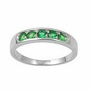Toe Ring Genuine Sterling Silver 925 Rhodium Plated Emerald CZ Face Height 4 mm