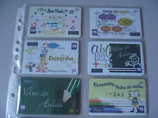 BACK TO SCHOOL - Complete Set of 6 Different Phone Cards from Brazil