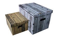 Aufbewahrungsbox mit Deckel WOOD Box Kiste Schachtel 15 und 47 L aus Karton