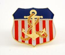 Red White And Blue USA Flag Shield Patriotic Anchor Lapel Hat Pin Navy PPM633