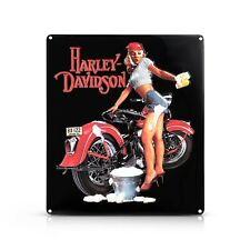 Harley-Davidson Metal Advertising Sign, A Girl Is Washing A  Red Harley
