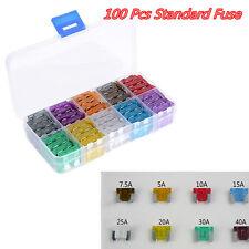 100 Pcs Assorted Vehicle DIY Medium Standard Fuses Box Kit 5 7.5 10 15 20 25 30A
