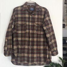 Vintage Pendleton Brown Plaid Board Shirt 100% Virgin Wool Made in USA Small Med