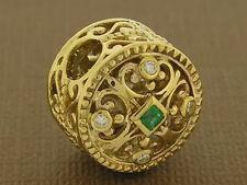 Bd052-1 SUPERB 9ct Solid Gold Natural Emerald & Diamond Designer Large Bead
