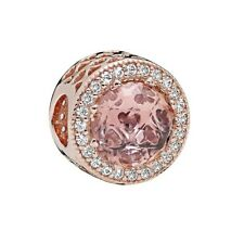 S925 Silver Charm 14K Rose Gold PL Radiant Hearts Blush Pink by Pandora's Angels