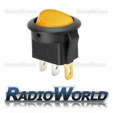 Interruptor Redondo Amarillo Iluminado LED de encendido/apagado 12v 16A coche Dash Luz van