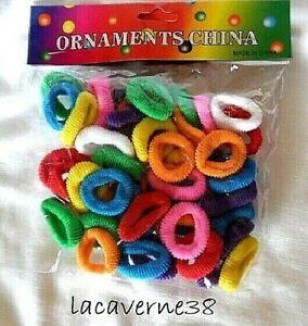 100 élastiques chouchou cheveux souple multicolore sans métal 30mm accessoire