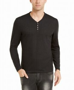 INC Mens Shirt Deep Black Size XL Henley Radar Long-Sleeve Solid $39  #197