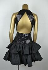 VINTAGE 80's XS Sequin Ruffled Party Dress MIKE BENET Sexy Open Back