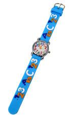 Soft Silicone Unisex Watch 123 ABC Theme Fun Kids Silver Analog Quartz Movement