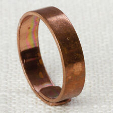 Simple Copper Ring Vintage Metal Ring Plain Cut Womens Adjustable 5mm Wide 16R