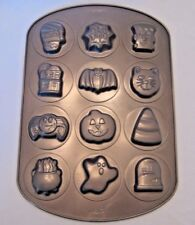 Wilton Halloween Cookie Candy Jello Metal Pan Mold 12 Designs Ghost Bat Cat
