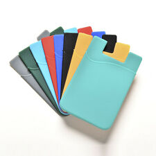 Silicone Mobile Phone Wallet Credit Card Cash Stick Adhesive Holder Case 1PC EW