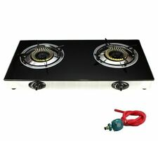 Propane Gas Range Stove Deluxe 2 Burner Tempered Glass Cooktop Auto Ignition