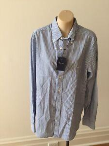 "NWT$165 Gant "" Banker"" fit'd Button Down Shirt Blue/white Stripe M 108cm chest"