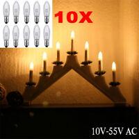 10 x LED 0,2W E10 10-55V Topkerzen Riffelkerzen Spitzkerzen Ersatz Lichterkette