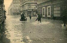 Carte PARIS Grande crue Seine Janvier 1910 Sauveteurs rue de Bellechasse