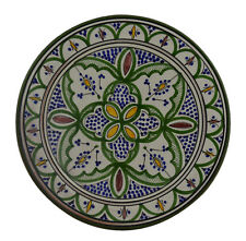 Moroccan Dinner Plate Rice Salad Pasta Bowl Serving  Spanish Verde 12 Inch Large