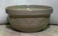 """Large 9.5"""" Sage Green Kitchen Stoneware Mixing Bowl with Embossed Fruit Design"""