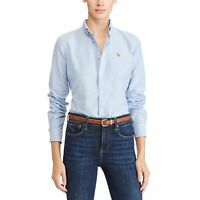 RALPH LAUREN Women's Shirt Slim Fit Cotton Oxford Shirt Blue - Size XS