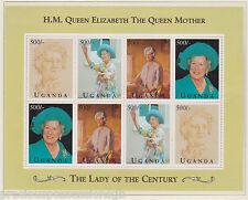 Uganda QUEEN MOTHER'S 95th compleanno in miniatura foglio Gomma integra, non linguellato 1995 500/-