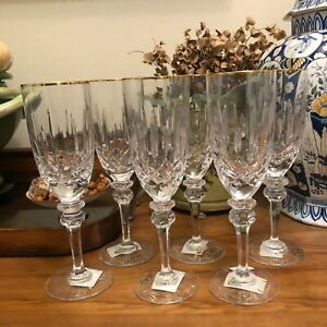 Lovely Set of 6 Royal Gallery Rogaska Savoy Gold Champagne Flutes Glasses