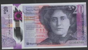 ROYAL BANK SCOTLAND POLYMER £20 UNCIRCULATED PREFIX CC 354749 FREEPOST RECORDED