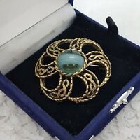 VINTAGE Celtic Brooch Blue Faux Banded Agate Kilt Sash Pin Knot Twist Round 2240