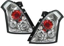 Suzuki Swift (2005-2010) Chrome Clear Rear Back Tail Lexus Lamp Lights - Pair