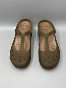 Crocs Women's Carlie Mary Jane Olive Slip On Clogs Comfort Shoes Size 9 EUC