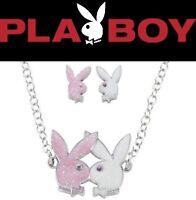 Playboy Jewelry Set Necklace Earrings Silver Swarovski Crystal Pink Bunny Logo