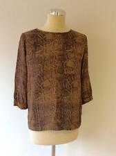 FRENCH CONNECTION BROWN SNAKESKIN PRINT TOP SIZE 8