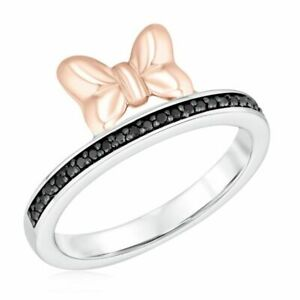 Two-Tone Disney Minnie Mouse 0.20 CT Black Diamond Bow Ring 925 Sterling Silver