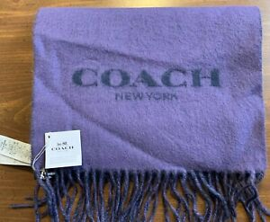 NWT Coach Double Faced Muffler Scarf Wool Cashmere Violet New L@@k !!