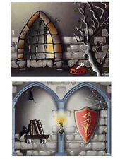 CARDBOARD BACKDROP Lego Stone Wall w/wolf Bowl & Hallway Scene Double Sided 1381