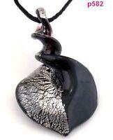1pc black Bicolor Knob Heart Murano Lampwork Art Glass Pendant Necklace p582