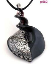 1pc black Bicolor Knob Heart Murano Lampwork Art Glass Pendant Necklace p582