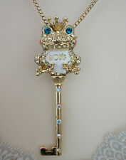 Betsey Johnson Rose Garden Crown Frog Key 34 inches Long Goldtone Necklace NWT