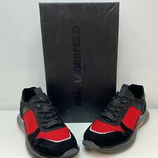 Karl Lagerfeld Paris Red Black Mens Suede Leather Low-Top Sneakers Shoes