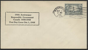 1948 #277 Responsible Government FDC, Boxed Text Cachet, Brandon MAN Machine