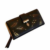Women's Long Leaf Wallet Leather Hollow Card Holder Purse Clutch Handbag